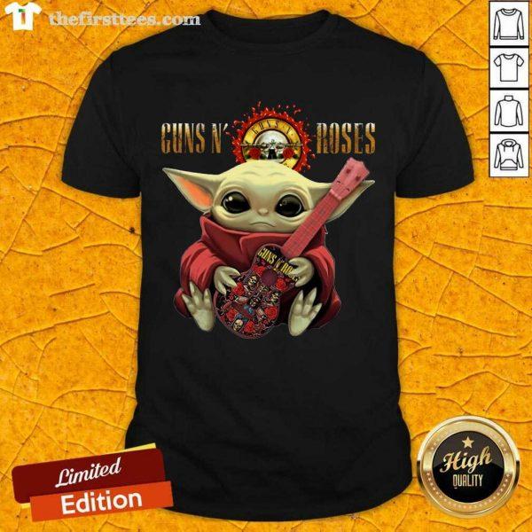 Baby Yoda Hug Guitar Guns N' Roses Rock Band Shirt- Design By Thefirsttees.com