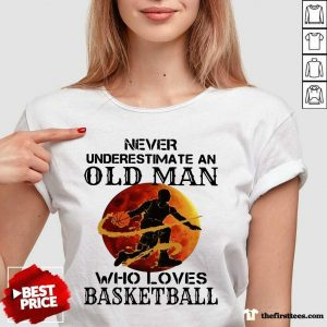 Never Underestimate An Old Man Who Loves Basketball Moonblood V-neck- Design By Thefirsttees.com