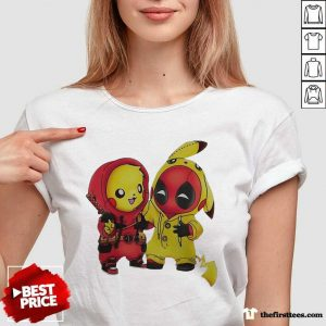 Pikapool Pikachu Pokemon And Deadpool 2021 V-neck- Design By Thefirsttees.com