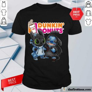 Baby Toothless And Stitch Love Dunkin' Donuts Shirt- Design By Thefirsttees.com