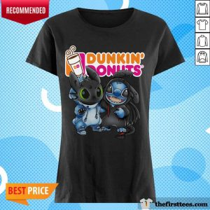 Baby Toothless And Stitch Love Dunkin' Donuts V-neck- Design By Thefirsttees.com
