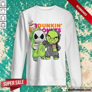 Baby Jack Skellington And Grinch Love Dunkin' Donuts Sweatshirt- Design By Thefirsttees.com