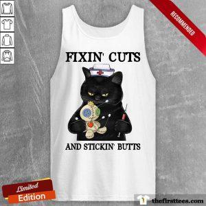 Black Cat Fixin' Cuts And Stickin' Butts Tank Top