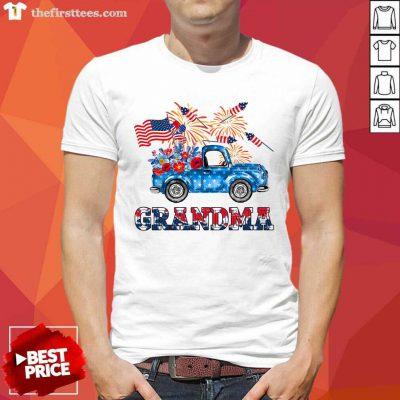 Grandma Flower Pickup Truck American Flag 4th Of July Shirt