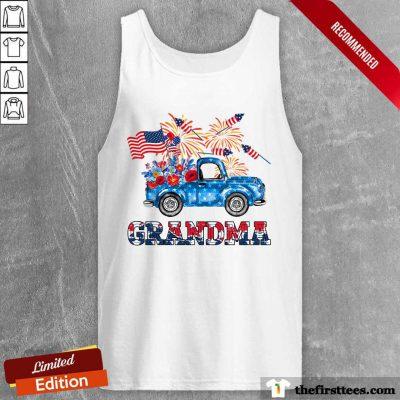 Grandma Flower Pickup Truck American Flag 4th Of July Tank Top