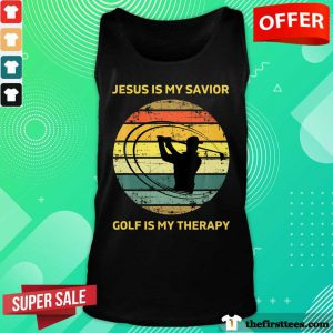 Jesus Is My Savior Golf Is My Therapy Vintage Tank Top