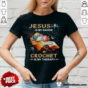 Top Jesus Is My Savior Crochet Is My Therapy V-neck